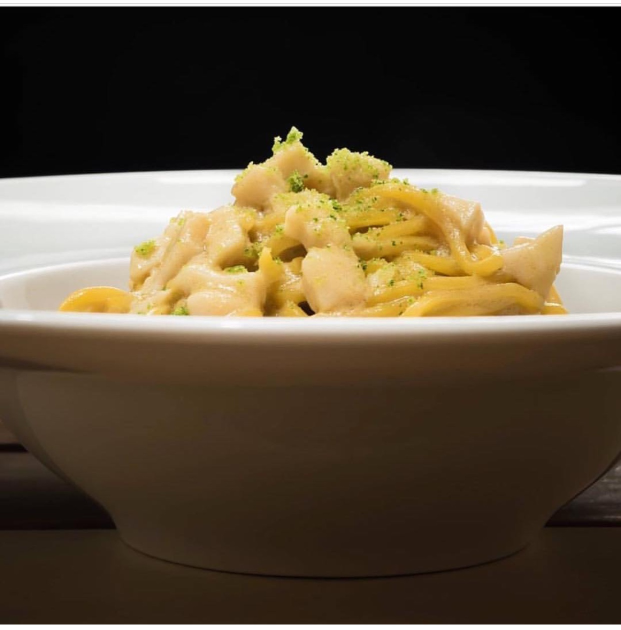 tagliolini con capesante senape e lime di Gabriele Cordaro