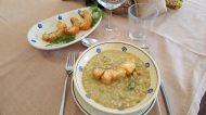 Zuppetta di cereali e legumi con baccalà fritto