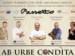 Ab Urbe Condìta: cena a 6 mani, ispirata all'antica Roma, da Passetto